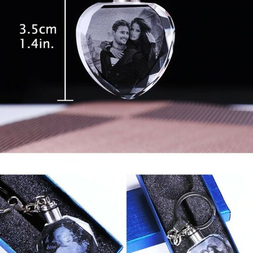 Laser Engraved Photo Key Personalized Picture Keychain Chain LED Lighting Glass