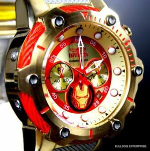 Invicta-Marvel-Iron-Man-Bolt-51mm-Gold-Plated-Limited-Ed-Chronograph-Watch-New