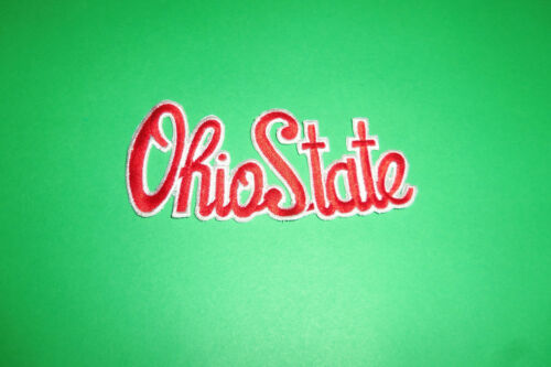 """NCAA Ohio State Buckeyes in Cursive Iron On Embroidered Patch 4.5/"""" x 2/"""""""