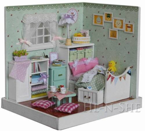 DIY Wooden Dollhouse Miniature with Light Home Decor /& Furniture F007