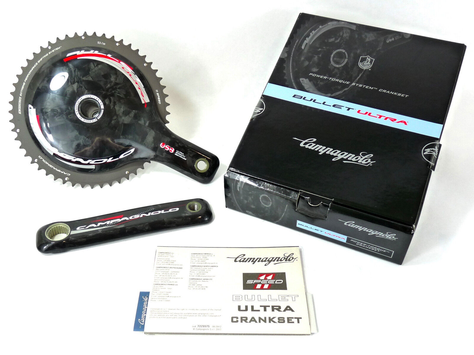 Campagnolo Bullet  Crankset Carbon 11 Speed 170mm 53 39 USB CERAMIC BEARINGS NOS  deals sale