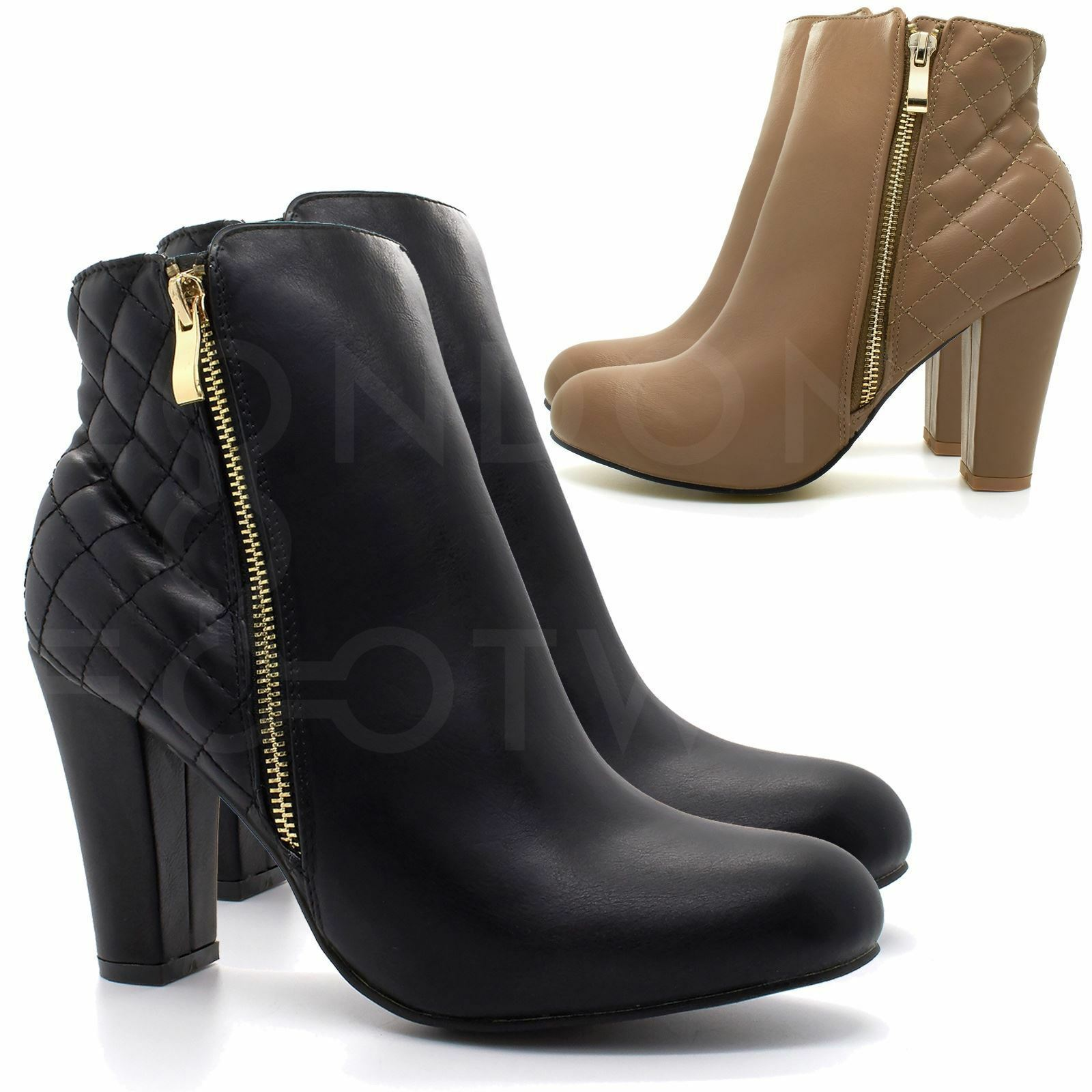 New Womens Chelsea Ankle Boots Ladies Mid High Chunky Block Heel Zip Up Shoe UK