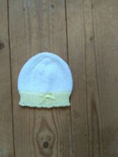 a8eb2f4df2e item 8 New hand knitted baby hat white with lemon border   bow size Newborn  -New hand knitted baby hat white with lemon border   bow size Newborn