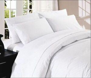 Image Is Loading White Striped Bed Sheet Set 800 Tc 100