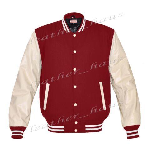 Original American Varsity Letterman College Baseball Bomber Leather Wool Jackets