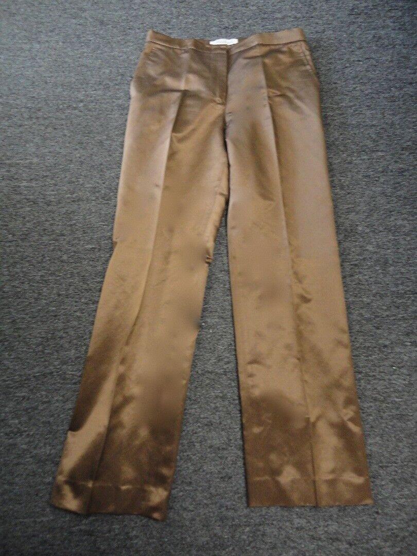 MAXMARA Chocolate Brown Cotton Blend Flat Front Dress Pants Size 8 EE8152