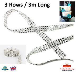3m-3-Rows-Silver-Diamante-Ribbon-Mesh-Trim-Cake-Rhinestone-Effect-Bridal-Craft