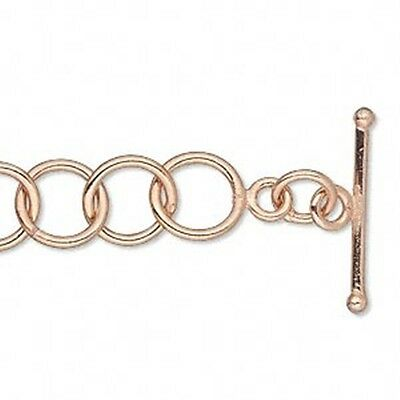 """Bright 100% Pure Copper 6.75"""" Lightweight Toggle Clasp 10mm Round Chain Bracelet"""