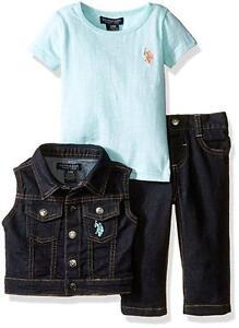 US Polo Assn Baby Girls' 3pc Vest Tee &Denim Pant Set Size 3/6M 6/9M 12M 18M 24M
