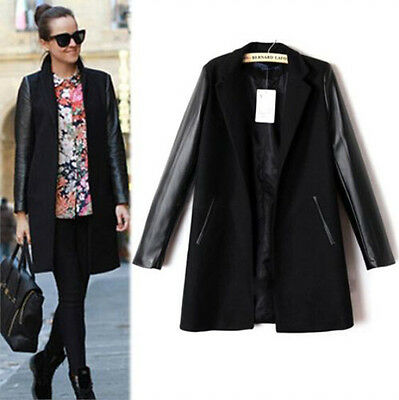 Fashion Women Leather Outerwear Long Sleeve Coat Splicing Blazer Trench Jacket