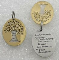 Serenity Prayer Tree Of Life Necklace Two-tone Gold Silver Stainless Steel