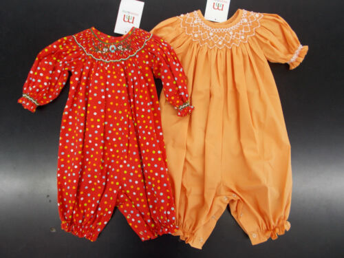 24 Months Infant Girls Mom /& Me Hand Smocked Long Bubble Outfits Size 3 Months