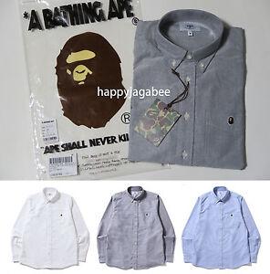 S-3XL-ONLINE-EXCLUSIVE-A-BATHING-APE-Men-039-s-OXFORD-BD-SHIRT-3colors-APE-HEAD-New