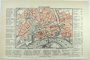 Original-1889-City-Map-of-Dusseldorf-Germany-by-Meyers