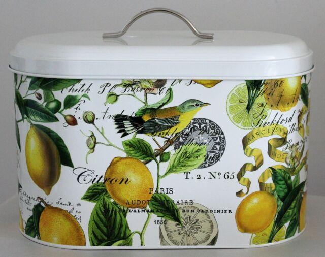 Lemon Basil Bread Bin Kitchen Storage Container Tin Fruit Michel Design Works