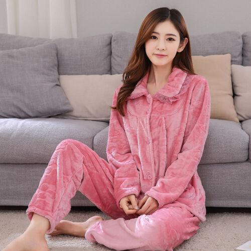 Womens Thick Winter Warm  Homewear Sleepwear Pajamas Long-Sleeved Coral Fleece