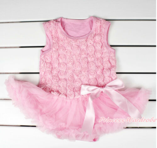 Light Pink Romantic Rose Baby Girl Bodysuit Pink Big Bow Skirt Baby Dress NB-18M