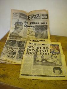 QUEEN MOTHER 80  QUEEN ELIZABETH 30 YEAR REIGN TWO VINTAGE NEWSPAPERS - huddersfield, West Yorkshire, United Kingdom - QUEEN MOTHER 80  QUEEN ELIZABETH 30 YEAR REIGN TWO VINTAGE NEWSPAPERS - huddersfield, West Yorkshire, United Kingdom
