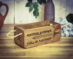 Bright Vintage Antiqued Wooden Box Ragnar Lothbrok Nourishing The Kidneys Relieving Rheumatism Small Box Trug Crate