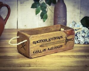 Ragnar Lothbrok Nourishing The Kidneys Relieving Rheumatism Bright Vintage Antiqued Wooden Box Crate Small Box Trug