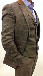 Men's Marc Darcy Designer Tweed  Checked Peaky Blinder Vintage 3 Piece Suit,