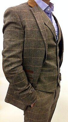 Mens Marc Darcy Designer Tweed Herringbone Checkered Vintage 3 Piece Suit,