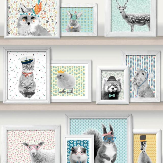 Muriva Wild Frames Animal Picture Pattern Wallpaper Cat Bird Panda Photo L32501