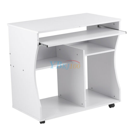 Home Office Small Portable Wooden Computer Trolley Desk Keyboard Storage Shelves