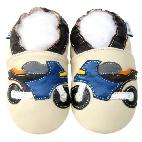 Jinwood Boy Shoes Soft Sole Leather Baby child Infant Motorcycle Beige 12-18M