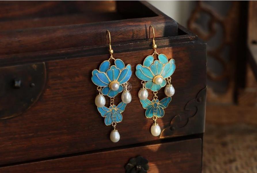Imitation Dot Cui Classic Natural Pearl Earrings Long Hanfu Earrings Women