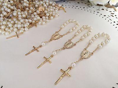 Gold Plated //Recuerdos De Bautizo 35 Mini Rosary Off White Baptism Favors
