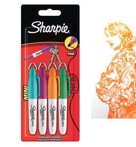 Sharpie-Permanent-Marker-Pen-w-Keyring-Fine-Point-Tips-x-4-Multi-Colour-Pens