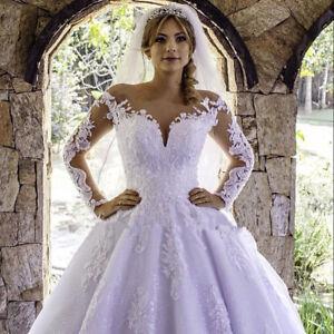 Details about Plus Size Long Sleeve Lace Princess Wedding Dresses Bridal  Ball Gown V-Neck