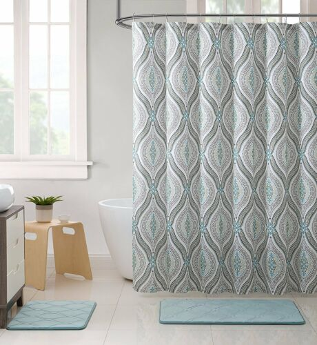Teardrop Paisley Print NWOP Elegant Blue Brown Neutrals Fabric Shower Curtain