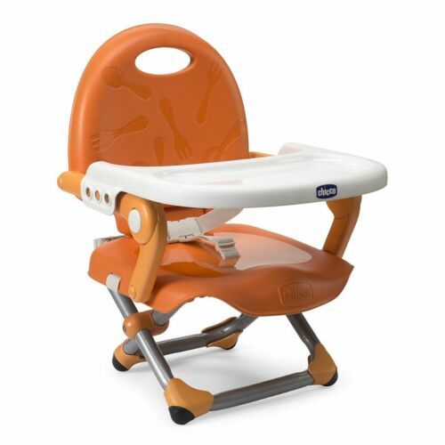 CHICCO POCKET SNACK HIGHCHAIR BOOSTER FOLDABLE TO TRAVEL CHAIR ORANGE NE