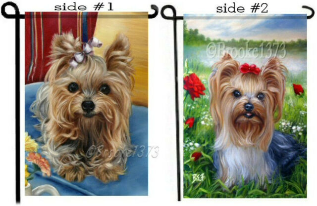 2 GARDEN FLAGS in 1 CHOOSE ANY IMAGES Yorkshire Terrier YORKIE DOG ART painting
