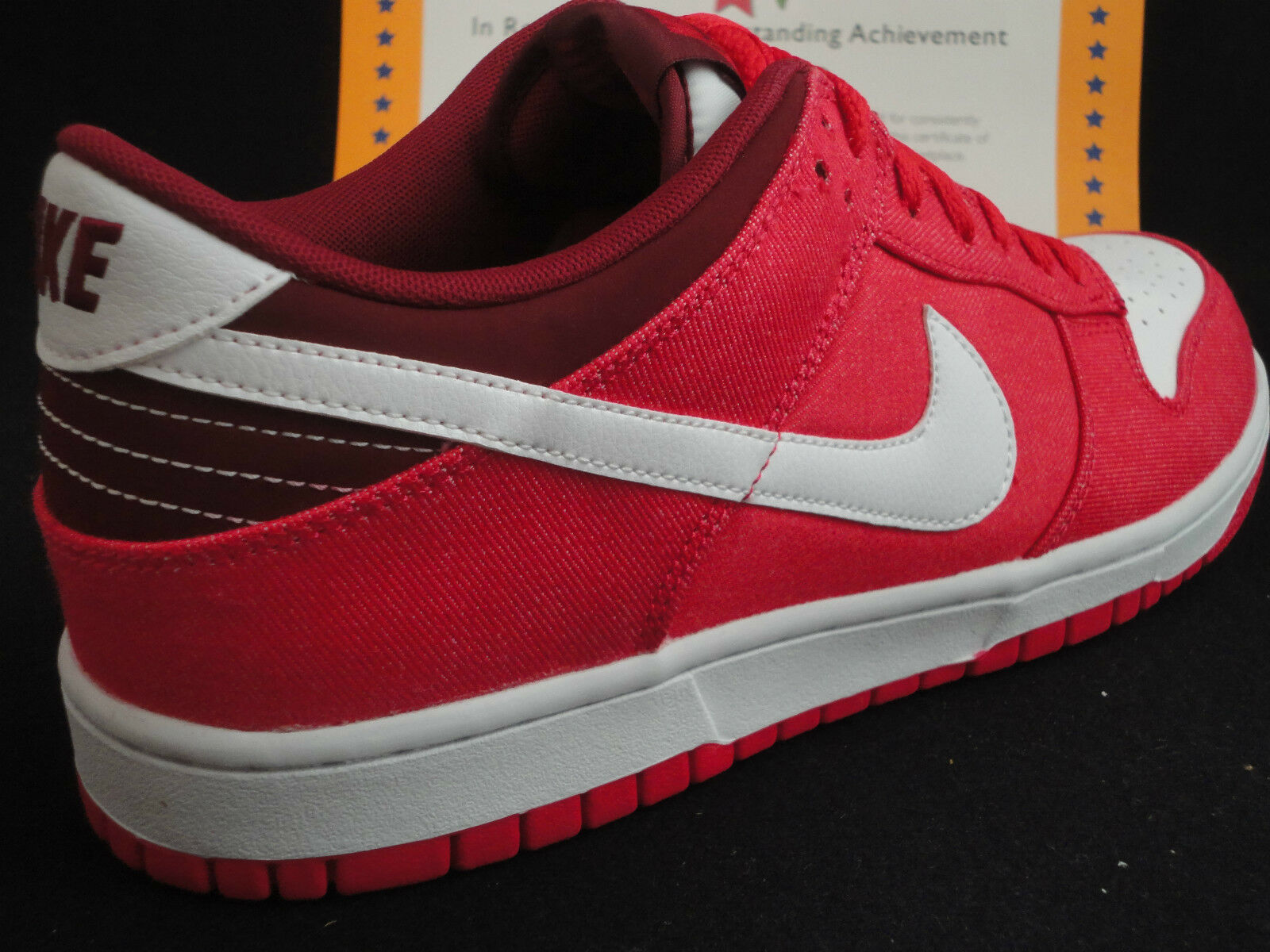 Nike Dunk Low, Denim / Leather, 2012, Hyper Red / White, 318019 604, Sz 12