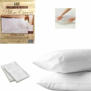 12-White-Hotel-Pillow-Plastic-Cover-Case-Waterproof-Zipper-Protector-Bed-21-034-X27-034