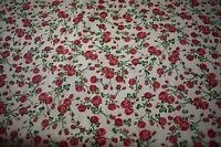 12 Yards Red Rose Flower Floral Print Quilt Fabric Apparel Upholstery 45 9444b