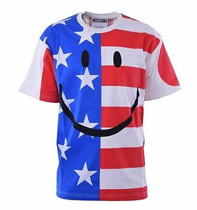 T Cotone Stampa con Usa Couture shirt 04461 Flags Uk Smiley Moschino Cotone rxqUrwzA