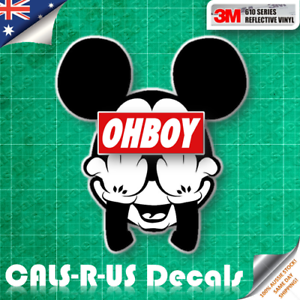 JDM Rude Mickey Mouse Bad Middle Finger 3M REFLECTIVE Car ...