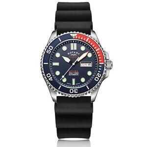 Rotary-Super-7-Scuba-Pepsi-Diver-Auto-Blue-Dial-Silicone-Strap-Men-Watch-S7S004S