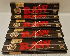 5 Packs Raw Black King Size Slim Natural Unrefined Rolling Papers 32 Leaves