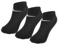 3 Pair Nike No Show Ankle Socks Black Mens Womens Performance Cotton UK 5-8