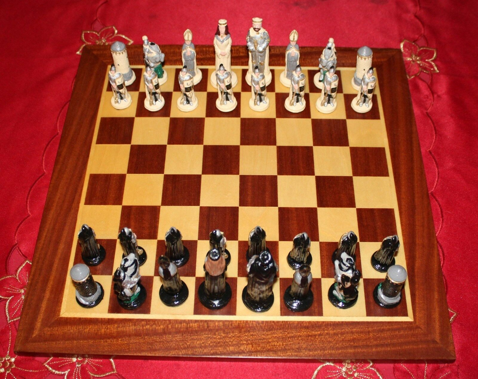Camelot Chess Set  with Solid Wooden Inlaid Board
