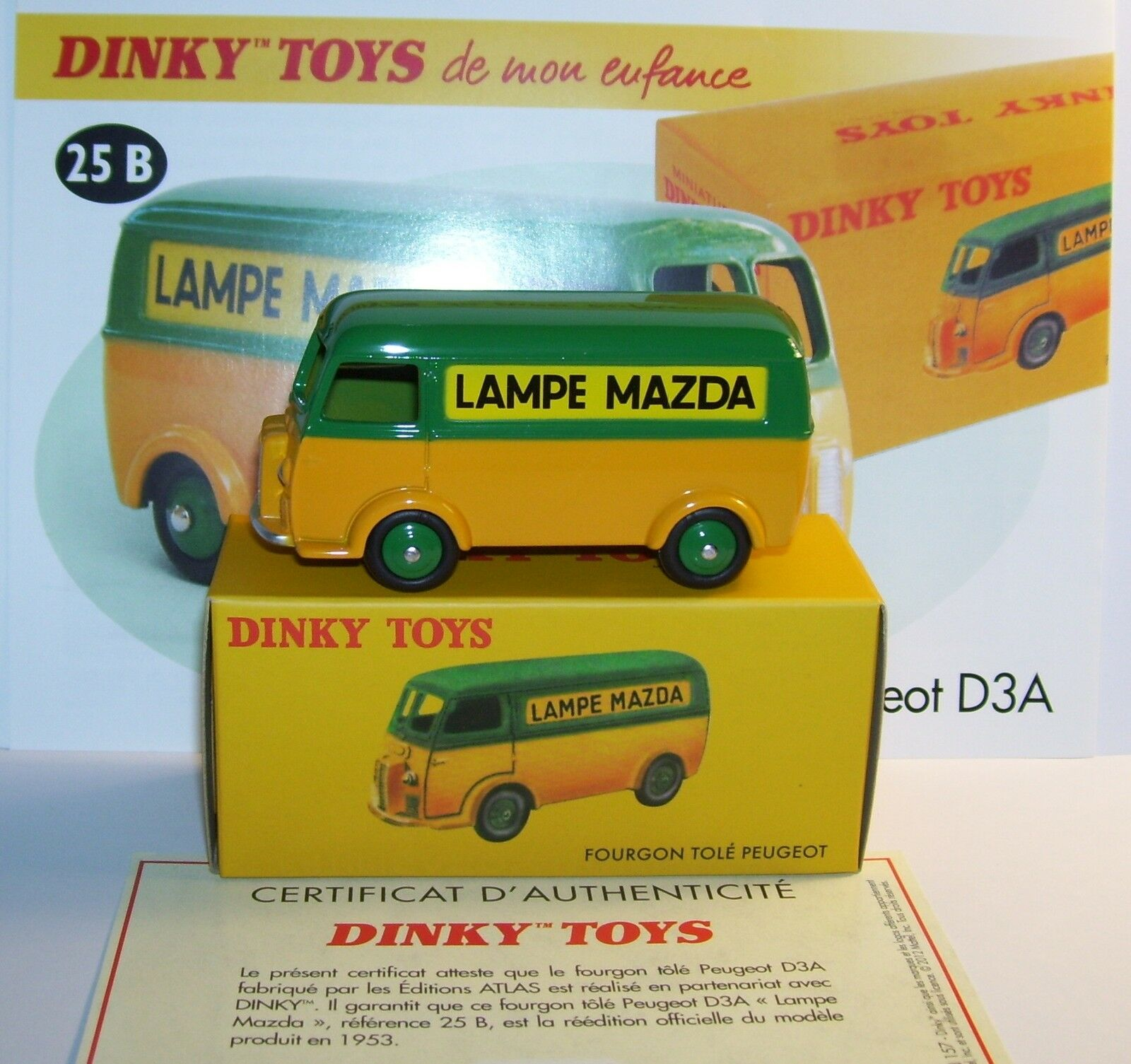 DINKY TOYS ATLAS VAN   WAGON SHEET PEUGEOT D3A LAMP MAZDA REF 25B 1 43 IN BOX