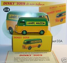 DINKY TOYS ATLAS FOURGON TOLE PEUGEOT D3A LAMPE MAZDA REF 25B 1/43 IN BOX