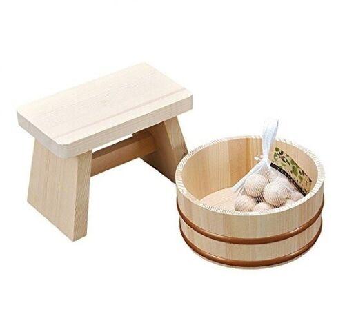 Japanese Bath Set Natural Wood Stool Chair Tub Cypress Hinoki Onsen Spa Set