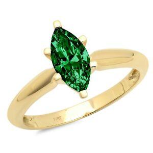 1.0 ct Marquise Cut Emerald Stone Wedding Bridal Promise Ring 14k Yellow...