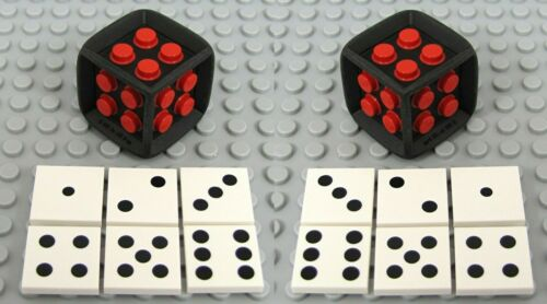 NEW Lego Black /& White GAME DICE Set Rubber /& Plastic w//Dot 2x2 Decorated Tiles